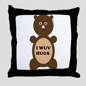 I WUV HUGS Throw Pillow
