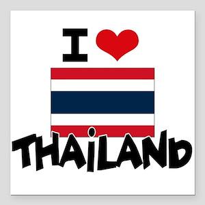 "I HEART THAILAND FLAG Square Car Magnet 3"" x 3"""