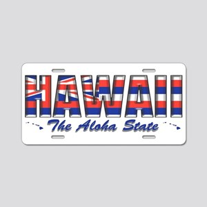 Hawaii Flag Aloha Drk Aluminum License Plate