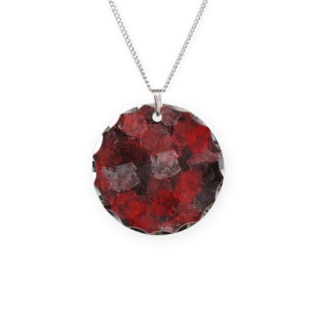 Plum Red Necklace Circle Charm