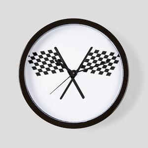Racing Checkered Flags Wall Clock