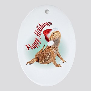 Bearded Dragon Santa Oval Ornament