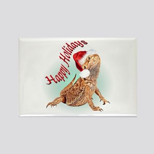 Bearded Dragon Santa Rectangle Magnet