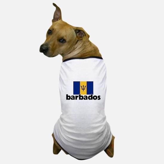 I HEART BARBADOS FLAG Dog T-Shirt