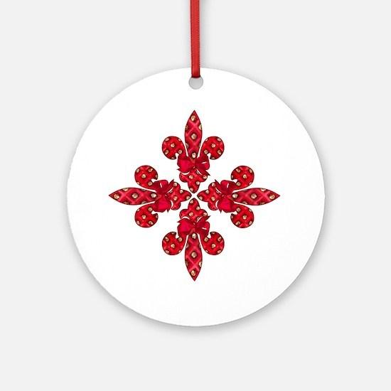 Red Holiday Fleur de lis Ornament (Round)