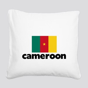I HEART CAMEROON FLAG Square Canvas Pillow