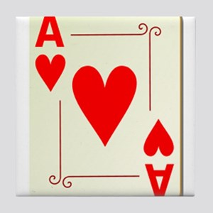 Ace of Hearts Playing Card Tile Coaster