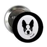SAD HENRY BOSTON TERRIER DOG Button