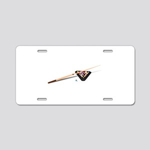 Pool Cue Stick and Balls Aluminum License Plate