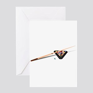 Pool Cue Stick and Balls Greeting Card