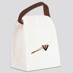 Pool Cue Stick and Balls Canvas Lunch Bag