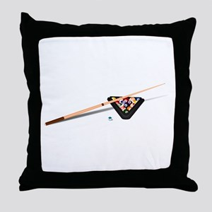 Pool Cue Stick and Balls Throw Pillow