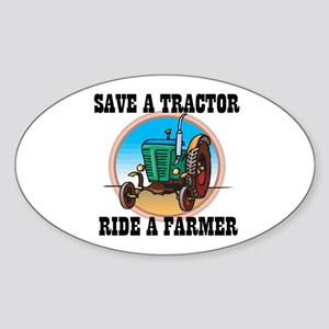 Save a Tractor, Ride a Farmer Oval Sticker