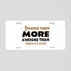 Hammer Throw designs Aluminum License Plate