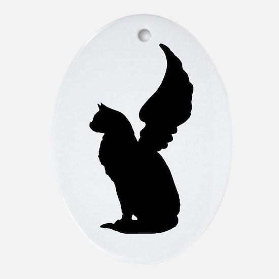 Angel Cat Ornament (Oval)