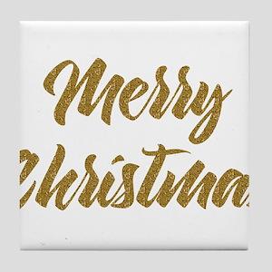 Merry Christmas Modern Gold tones Typ Tile Coaster