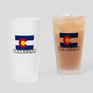 I HEART COLORADO FLAG Drinking Glass