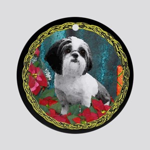 Shih Tzu Valentine China Ornament (Round)