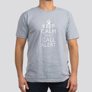 Keep Calm and Call Alert Men's Fitted T-Shirt (dar
