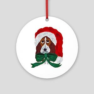 Basset Puppy Santa Ornament (Round)
