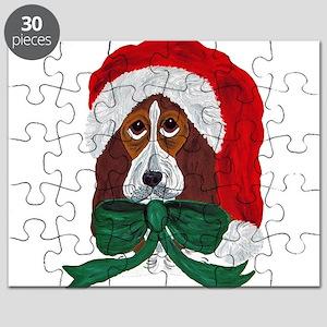 Basset Puppy Santa Puzzle