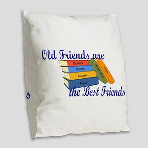Books Best Friends Burlap Throw Pillow