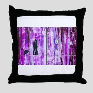 Purple Rain Romance Throw Pillow