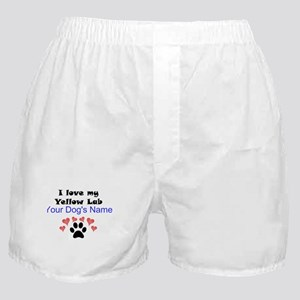 Custom I Love My Yellow Lab Boxer Shorts