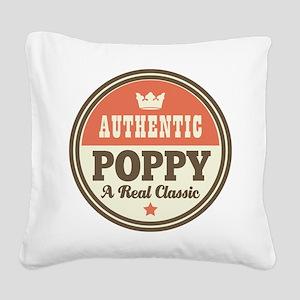 Classic Poppy Square Canvas Pillow