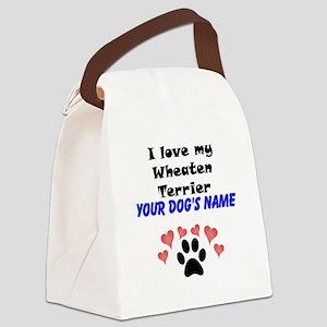 Custom I Love My Wheaten Terrier Canvas Lunch Bag