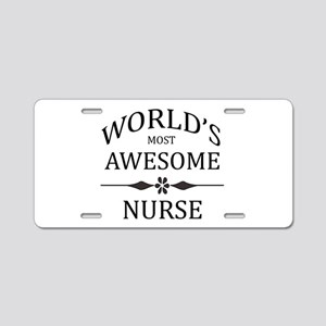 World's Most Awesome Nurse Aluminum License Plate