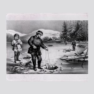Winter sports--pickerel fishing - 1872 Throw Blank