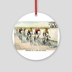 Wheelmen in a red hot finish - 1894 Round Ornament