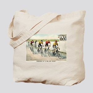 Wheelmen in a red hot finish - 1894 Tote Bag