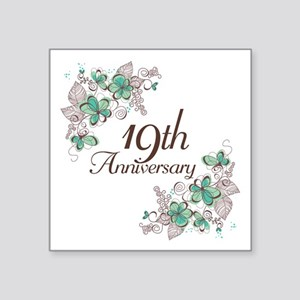 "19th Anniversary Keepsake Square Sticker 3"" x 3"""