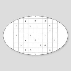 Sudoku Square Oval Sticker