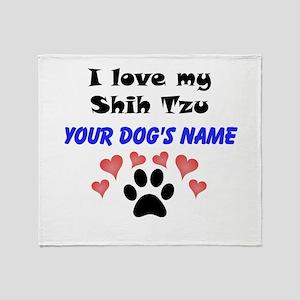 Custom I Love My Shih Tzu Throw Blanket