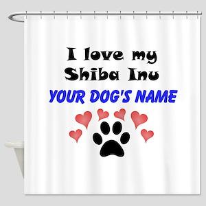 Custom I Love My Shiba Inu Shower Curtain