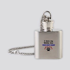 Custom I Love My Shiba Inu Flask Necklace