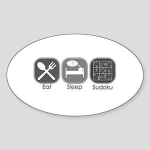 Eat. Sleep. Sudoku Oval Sticker