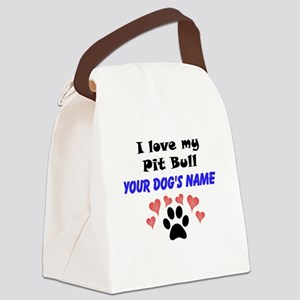 Custom I Love My Pit Bull Canvas Lunch Bag
