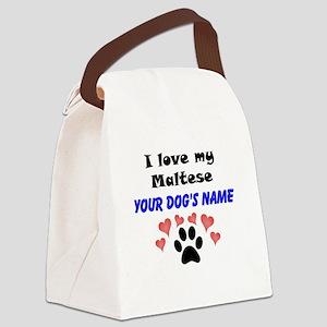 Custom I Love My Maltese Canvas Lunch Bag