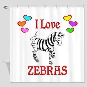 I Love Zebras Shower Curtain