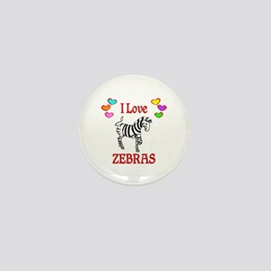 I Love Zebras Mini Button