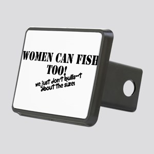 Women can fish too Rectangular Hitch Cover