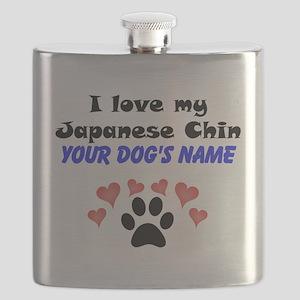 Custom I Love My Japanese Chin Flask