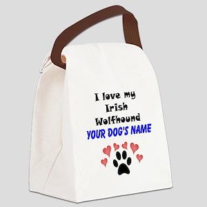 Custom I Love My Irish Wolfhound Canvas Lunch Bag