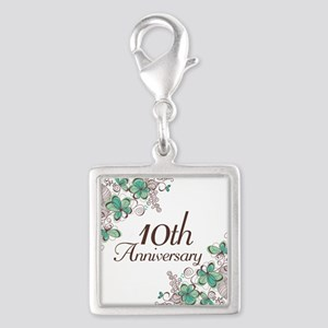 10th Anniversary Keepsake Silver Square Charm