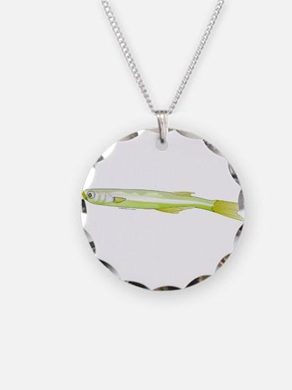Silverside minnow fish t Necklace