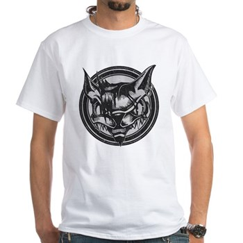 Distressed Wild Cat Stamp White T-Shirt